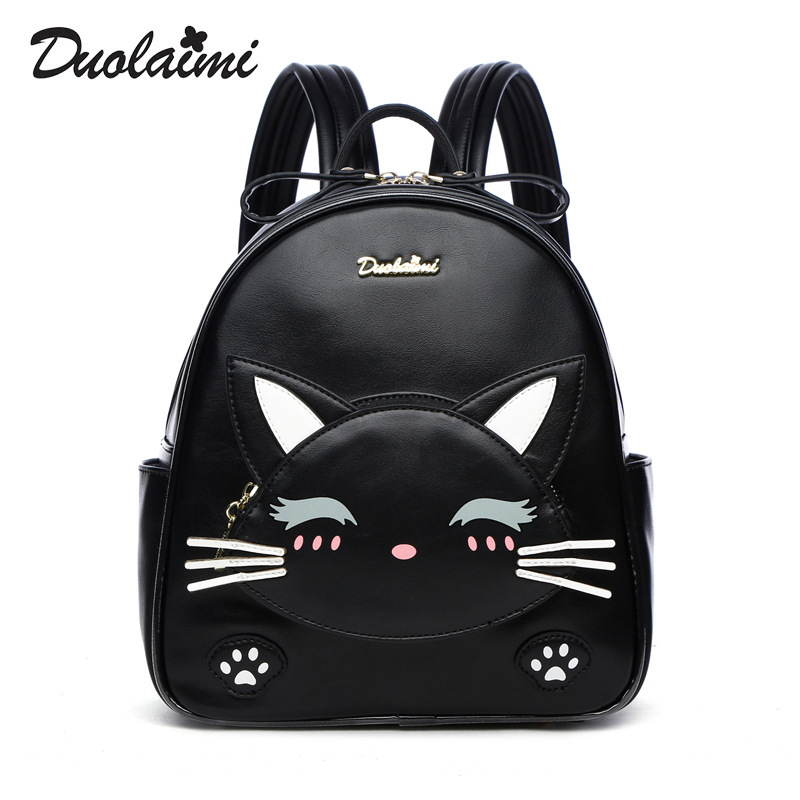 fashion designer women cats backpack small pu leather backpack school bags teenagers girls mini backpack female travel backpack simple designer small backpack women white and black travel pu leather backpacks ladies fashion female rucksack school bags