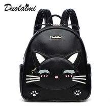 Модельер женщины кошки рюкзак малый кожа pu рюкзак школьные сумки подростков девочек мини рюкзак женский рюкзак путешествия