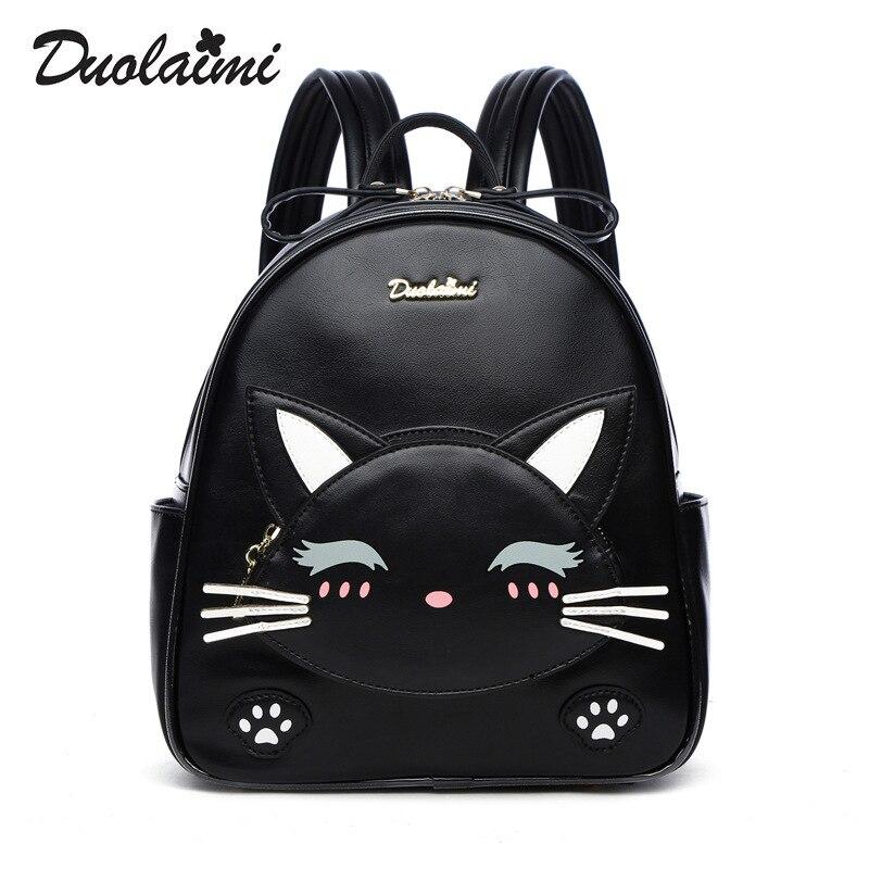 fashion designer women cats backpack small pu leather backpack school bags teenagers girls mini backpack female travel backpack