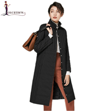 Winter Women down coat 2017 fashion new pure color long Single-breasted Stand collar High-end slim warm female down jacket ll794