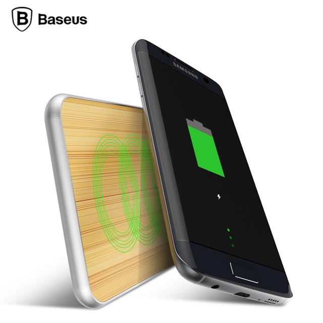 De baseus madera de bambú portátil cargador inalámbrico qi pad de carga rápida de samsung s7 s6 edge nexus 6x5 p htc e9 lg lte2 lumia 920