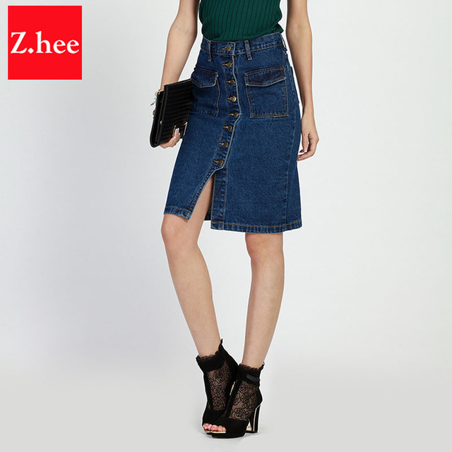 Aliexpress.com : Buy Row Button Pocket knee Length Straight Denim ...