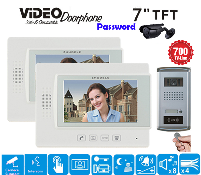 ZHUDELE New 7 Display Color Video Door Phone Touch Button Doorbell Intercom Support CCTV Camera IR HD IP56 Camera with ID Card