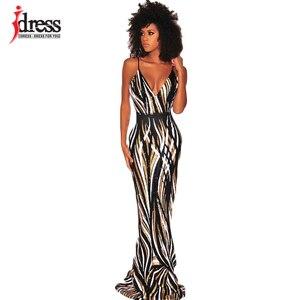 Image 1 - IDress Sexy Black Red Elegant Women Evening Party Dress 2019 Summer Lady Wear Slim Vestidos Femninos Sequined Long Dress Vestido