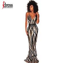 IDress Sexy Zwart Rood Elegante Vrouwen Avond Party Dress 2019 Zomer Lady Wear Slim Vestidos Femninos Lovertjes Lange Jurk Vestido
