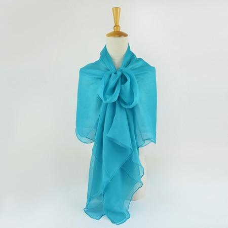 Жатый шелк жоржетовый длинный шарф 110 см X 180 см Чистый шелковый шарф женский однотонный цвет изделия из шифона в большом размере шарф - Цвет: 04