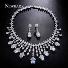 NEWBARK Luxury Bridal Jewelry Sets For Women Water Drop Cubic Zirconia Pendants Tassel Necklace Flower Earrings Christmas Gifts