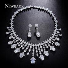 NEWBARK Gorgeous Luxury Bridal Jewelry Sets Poem of Spring Top Quality CZ Tassel Necklace Flower Earrings