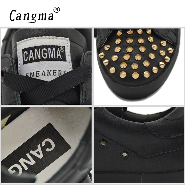 CANGMA Brand Sneakers Shoes Durable Men's Rivets Lace Up Casual Shoes For Man Black Genuine Leather Flats Male Footwear