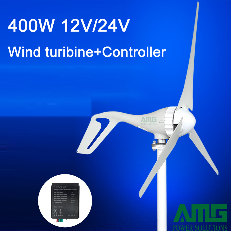400W 12V/24V 3/5 blades horizontal wind turbine generator home use + BOOST/PWM waterproof wind charger controller free shipping 600w wind grid tie inverter with lcd data for 12v 24v ac wind turbine 90 260vac no need controller and battery
