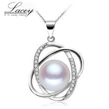 Lacey freshwater pearl pendant jewelry women 925 silver,real natural necklace girlfriend beautiful birthday gifts