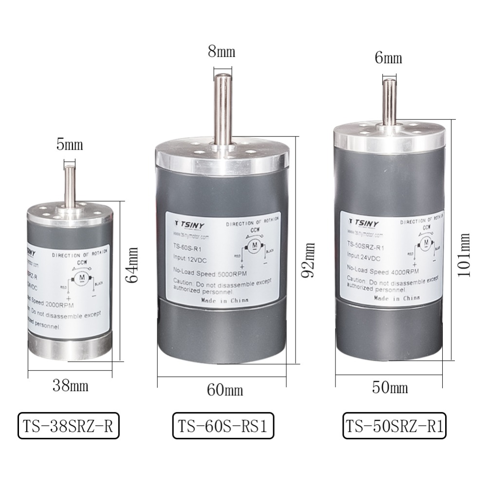 DC Permanenr Magnet Gear Motor 12V 24V 200/3000/4000/5000 <font><b>Rpm</b></font> High Speed 38/<font><b>50</b></font>/60mm Bemonoc Diameter DC Electric Motor For DIY image
