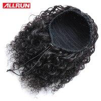 Allrun Afro Hair Wig Ponytail Drawstring Short non Remy Kinky Pony Tail Clip in Human Hair Kinky Curly Peruvian Drawstring Puff