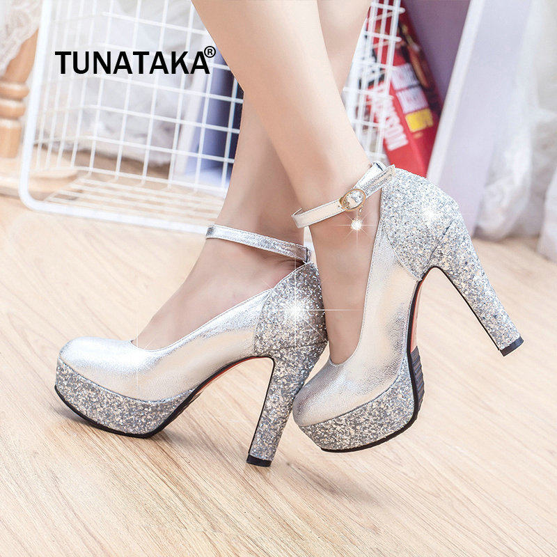 Gold Silver Chunky High Heels Women Ankle Strap Pumps Platform Fashion  Party Wedding Ladies Shoes 2019 a62433269c1a