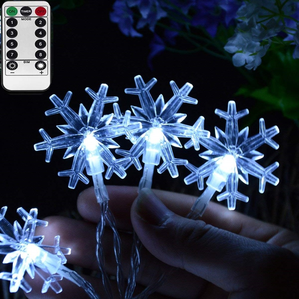 LED Snowfall Lights Garland For Christmas Tree Fairy Lights Decoration 8 Settings Remote Control Battery Operated Holiday Lights