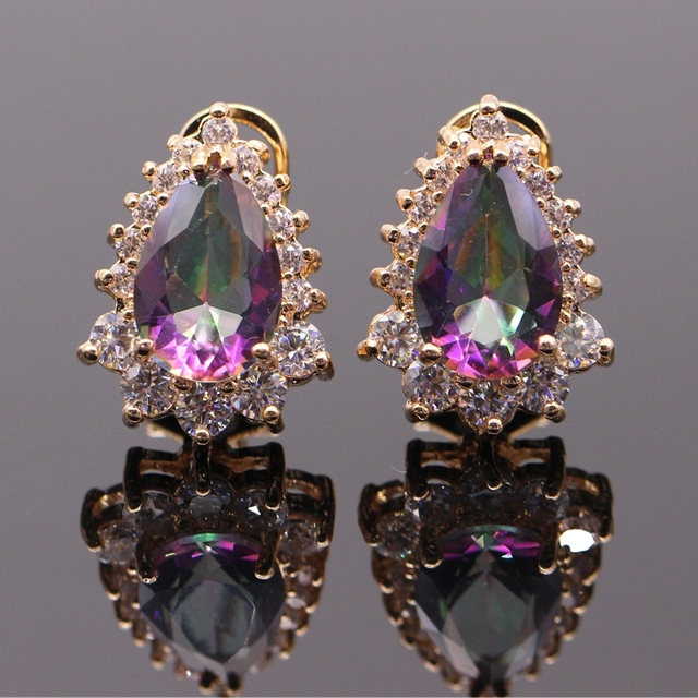 Luxury Female Jewelry Charm Gold Plated Waterdrop Rainbow Mystic Crystal AAA Cubic Zirconia Wedding Party Earring