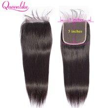 Queenlike 스트레이트 5x5 레이스 클로저 큰 크기 pre는 아기 머리카락으로 뽑아 자연 헤어 라인 브라질 레미 인간의 머리카락 5*5 폐쇄