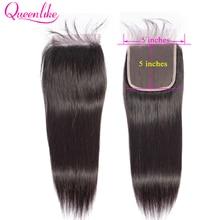 Queenlike Straight 5x5 Vetersluiting Big Size Pre Geplukt Met Baby Haar Natuurlijke Haarlijn Braziliaanse Remy Human Hair 5*5 sluiting
