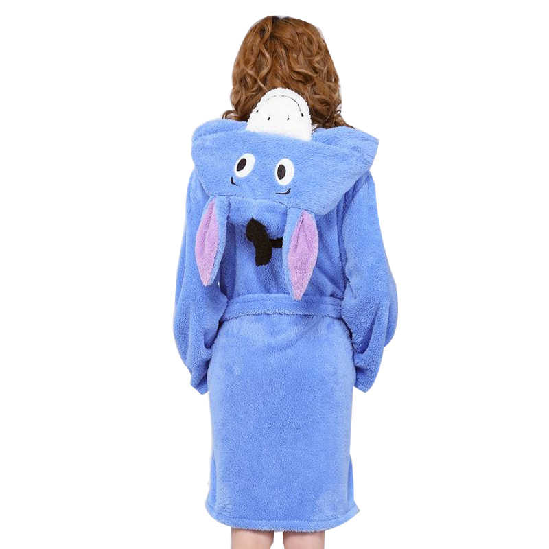 6ce3dbc15716d Spring Autumn Winter Flannel Animal Eeyore Women Robe Hooded Casual Towel  Bathrobe Nightgown Ladies' Long Blue Robes