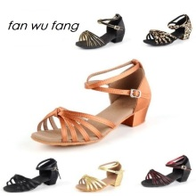 fan wu fang 2017 New Arrival Wholesale Girls Women Children Kids Ballroom Tango Latin Dance Shoes Low Heel Shoes 7 Color 202