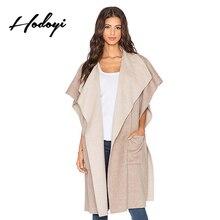 Hodoyi Solid Color Women Coat Streetwear Elegant Vintage Frills Trench Coat Autumn Winter Short Sleeve Loose Outwear