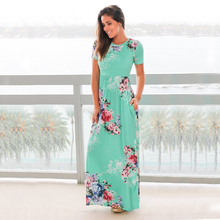 3XL New Women Dress Elegant Printed Sleeveless O-neck Maxi Summer Hem Baggy Side Long Dresses Female Vestido
