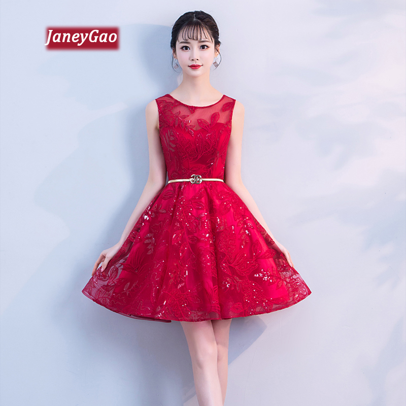 JaneyGao   Prom     Dress   Short Women Formal Eveing   Dresses   Above Knee Simple Fashion Elegant Party Gown Wine Red New Product On Sale