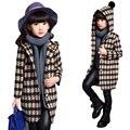 2016 crianças casacos com capuz casaco longo de lã kids clothing meninas xadrez outwear jaquetas de inverno infantis para meninas
