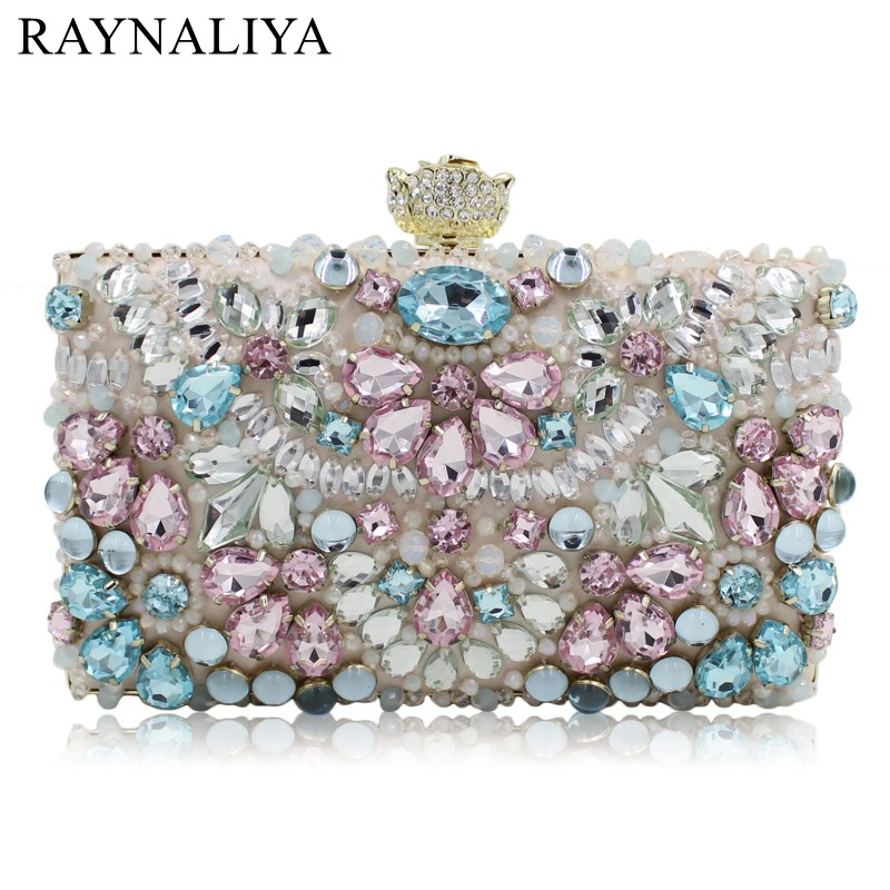 Luxury Crystal Women Wedding Clutch Handbag Evening Bag Floral Beading Party Purses New Designer SMYZH-E0271 new fashion women minaudiere fashion evening bags ladies wedding party floral clutch bag crystal diamonds purses smyzh e0122