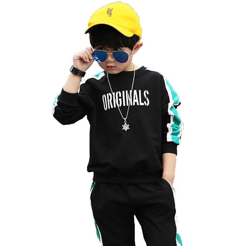 Baby Boy Clothes 2018 New Spring Black Letter Long Sleeve T-shirt + Casual Long Pants 2pcs Suit Kids Boys Clothes For 3-12Y Q29 2017 new spring women maternity t shirt