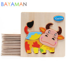 1pc Wooden 3D Puzzle Jigsaw Cartoon Animal Puzzles Wooden Toys for Children Intelligence Educational Toy(China)