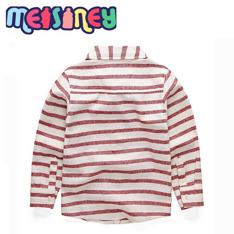 Chłopięca w paski, europejska i amerykańska koszula z długim - Ubrania dziecięce - Zdjęcie 2