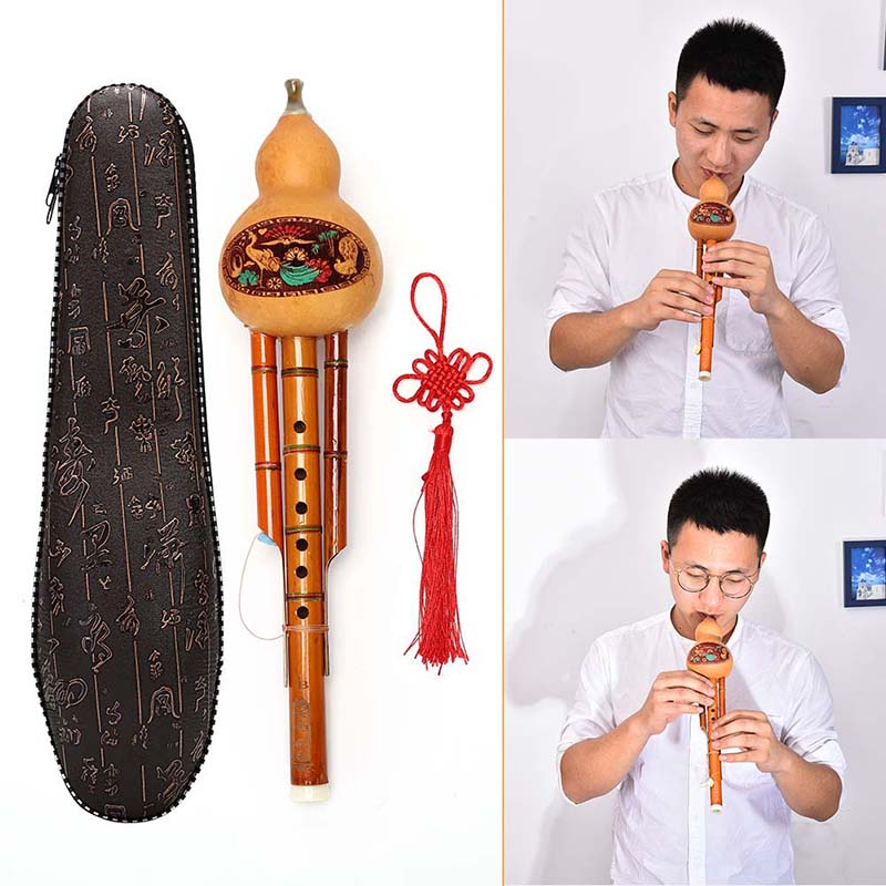Bamboo Hulusi Gourd Cucurbit Flute Chinese Handmade Ethnic Musical Instrument Key Of C With Case For Beginner Music Lovers