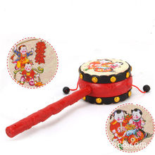 Baby Kids Shaking Rattle Traditional Rattle Drum Hand Drum Cartoon Plastic Fun Toys Hand Bell Music Toys(China)