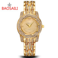 BAOSAILI Tag Colorful Shell Dial Crystal Rhinestone Women S Dress Watches Luxury Brand Fashion Rose Gold