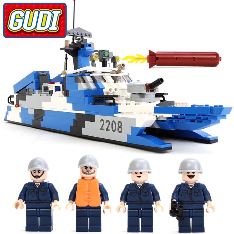 GUDI 578 pièces frégate navire de guerre avec soin navires militaires bloc briques éducatif assembler blocs de construction jouets pour enfants