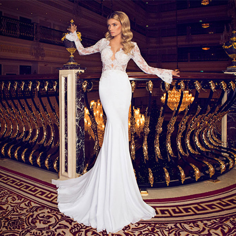 Fashionable Wedding Gowns: New Fashionable 2016 Beaded Pearls Lace V Neck See Through