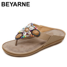 Beyarne verão feminino casual confortável respirável plana sandálias mulher fundo macio flip flop praia sandálias moda mulher sapatos