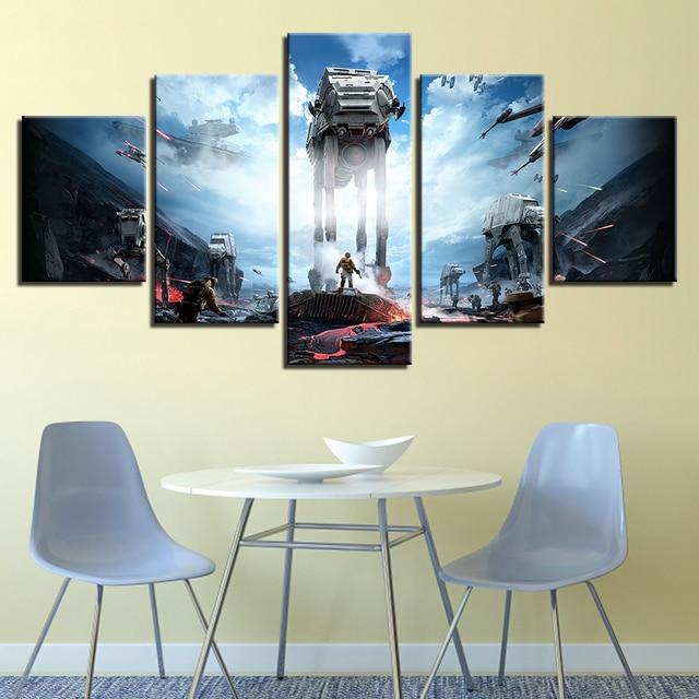 Póster de arte, cuadro Modular, pintura de pared, decoración del hogar, 5 paneles, película de Star Wars, moderno sobre lienzo para el marco de la sala de estar