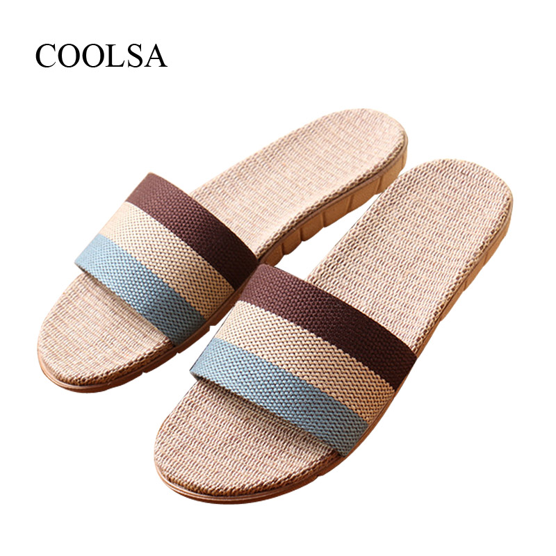 COOLSA Brand Men's Linen Slippers Summer Indoor Striped Flax Slippers Men's Non-slip Indoor Slippers Men's Slippers EVA Big Size coolsa women s summer flat non slip linen slippers indoor breathable flip flops women s brand stripe flax slippers women slides