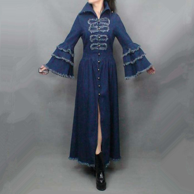 Free Shipping 2017 Fashion Long Maxi Trench Dress For Women Vintage Denim Outerwear Tassels Flare Sleeve Plus Size Royal Coat XL