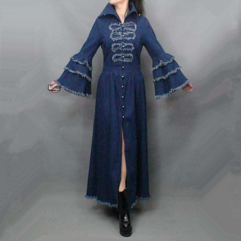 Free Shipping Fashion Long Maxi Trench Dress For Women Vintage Denim Outerwear Tassels Flare Sleeve Plus Size Royal Coat S-XL
