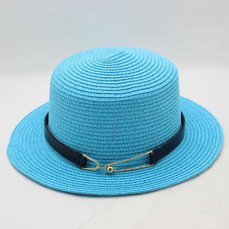 a7188c816ff471 BINGYUANHAOXUAN 2018 Ladies Summer Travel Wild Pure Color Sun Hat Fashion  Buckle Metal Flat Top Woman