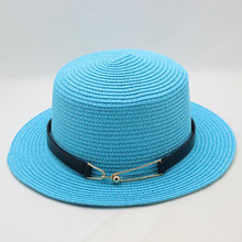 BINGYUANHAOXUAN 2018 Ladies Summer Travel Wild Pure Color Sun Hat Fashion Buckle Metal Flat Top Woman Straw