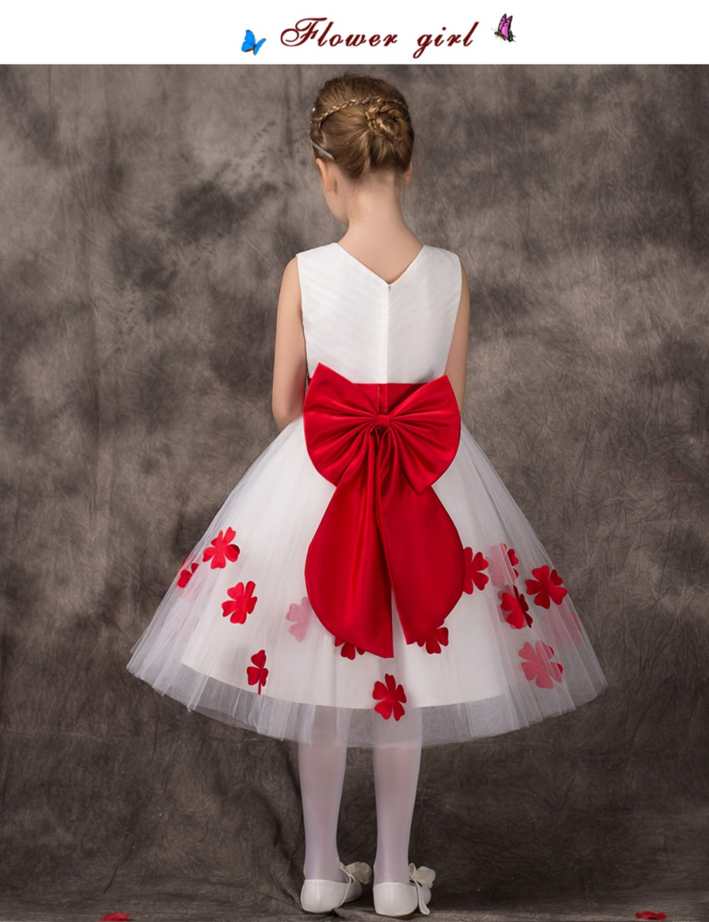 2015 Cute Red White Flower Girls Dress Bow Sash Kids Beauty Pageant