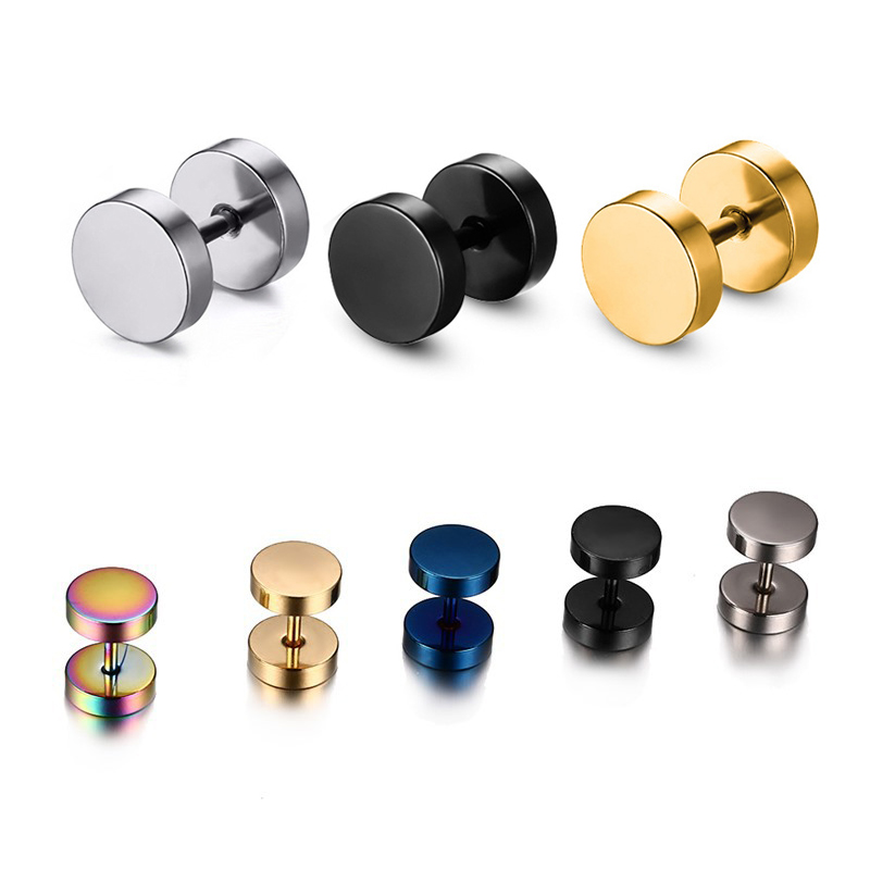 Alisouy Wholesale Fashion Black Silver Stainless Steel Earrings Women Men's Barbell Dumbbell Punk Gothic Stud Earring For men