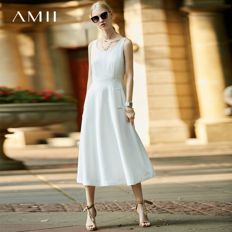 Amii Women Minimalist 2018 Summer Dress Office Lady A Line Sleeveless Female Dresses