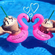 hot deal buy cute inflatable flamingo drink can cell phone holder floating swimming stand pool bathing beach event party kids toy bath toy