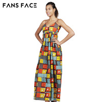 FANS FACE African Dashiki African Dresses Casual Straight Split Printing African Print Cotton Clothing Chemise Africaine