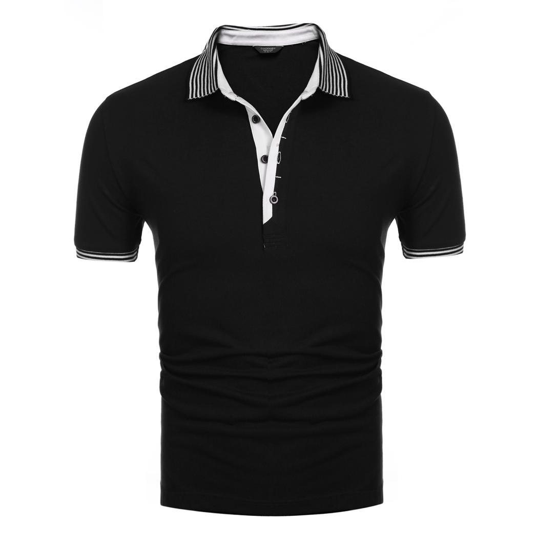 COOFANDY Men's Casual   Polo   Shirts Turn Down Collar Short Sleeve Solid Color Pattern Hip Length Loose Fit Style Pullover For Male